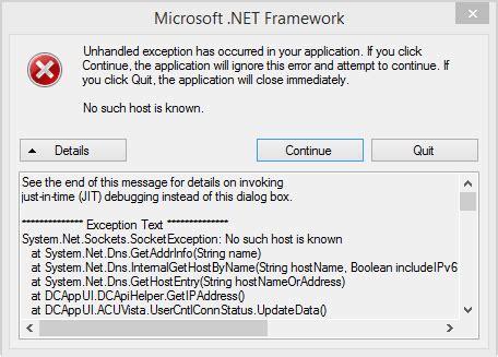 """Error """"No such host is known"""""""