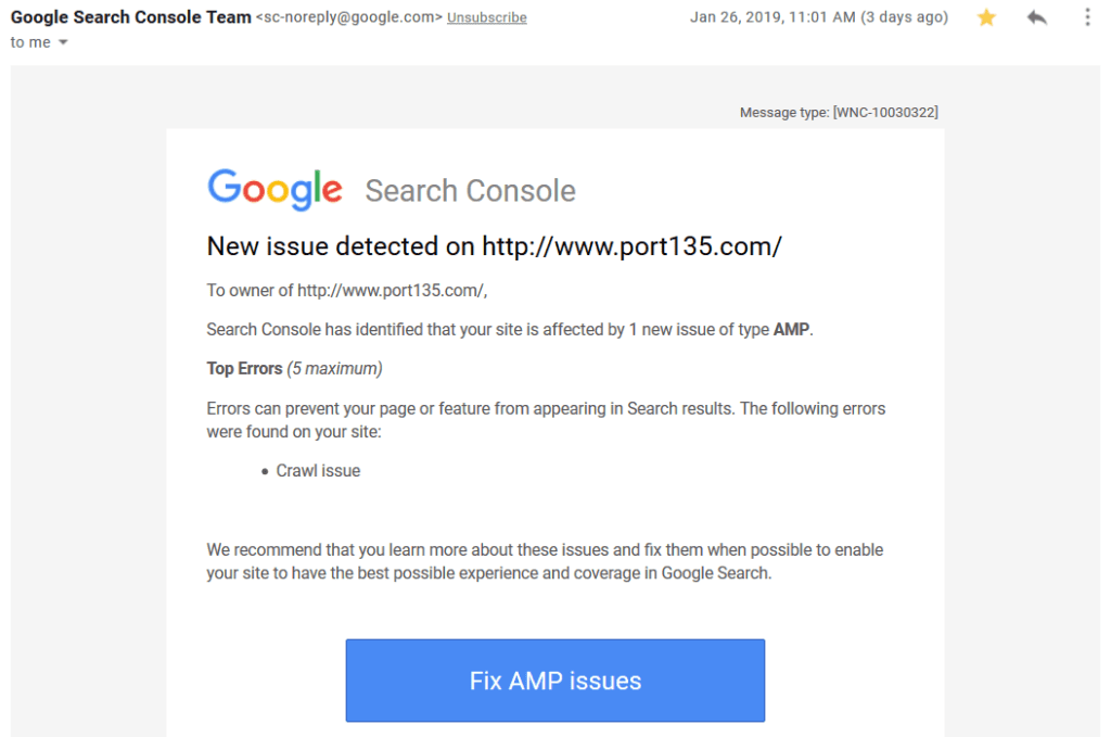 Email notification for Crawl Issue
