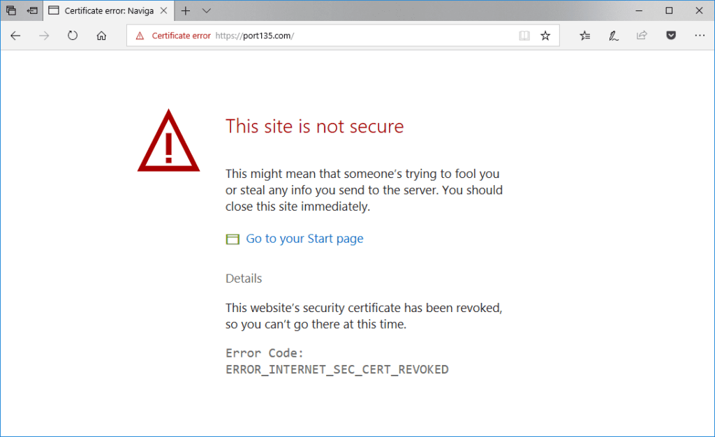 ERROR_INTERNET_SEC_CERT_REVOKED error in Edge