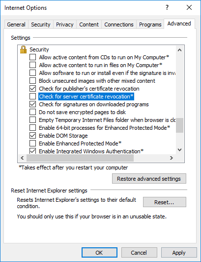 Certificate revocation setting in Internet Explorer for ERROR_INTERNET_SEC_CERT_REVOKED error