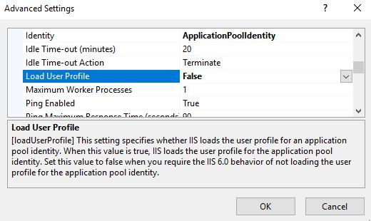 IIS Load User Profile setting