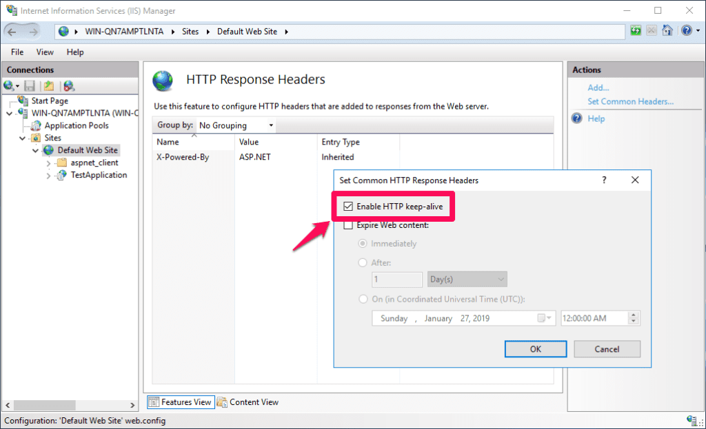 "Enabling ""HTTP keep-alive"" option to improve IIS performance"