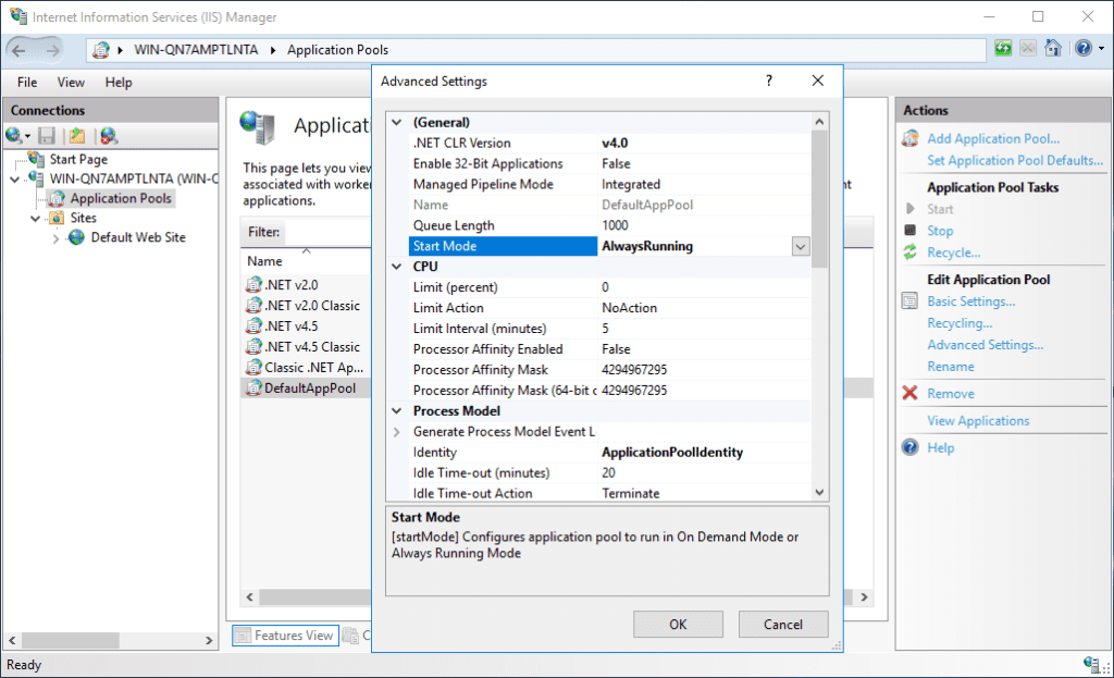 Enable Application Initialization for an application pool to improve IIS performance