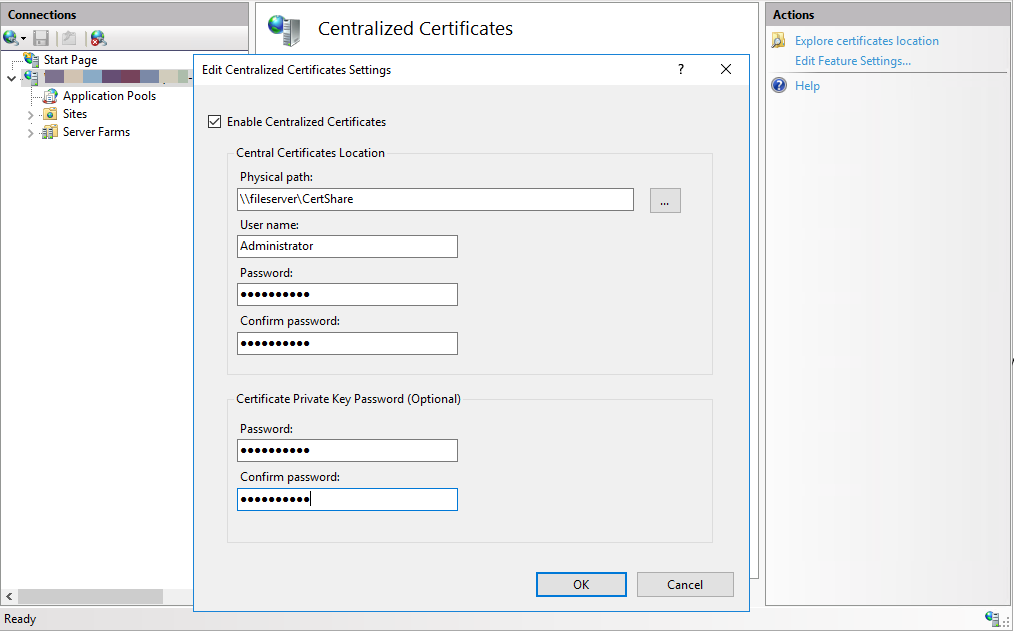Configure CCS before adding a corresponding IIS binding