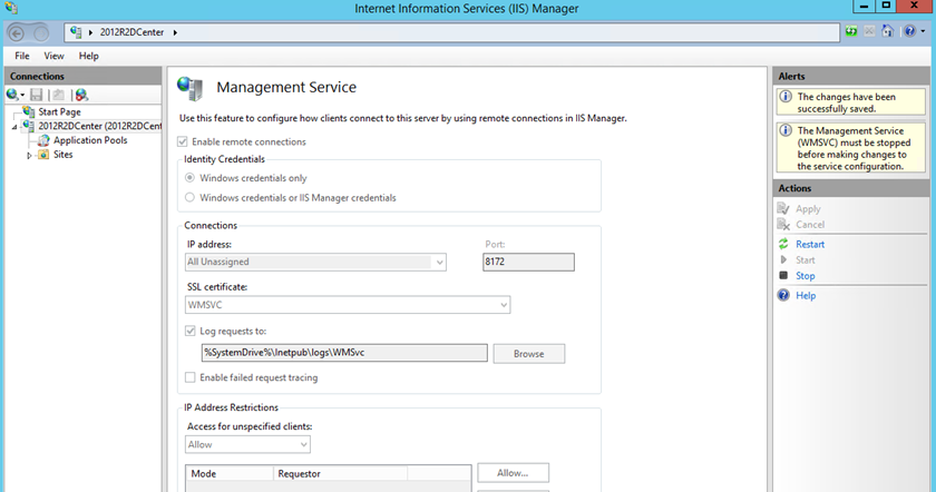 "Enable IIS Management Service to solve ""Could not reach the Web Deploy endpoint"" error"