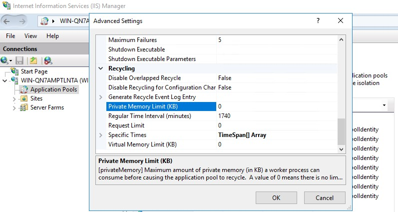 OutOfMemoryException related field: Private Memory Limit (KB)