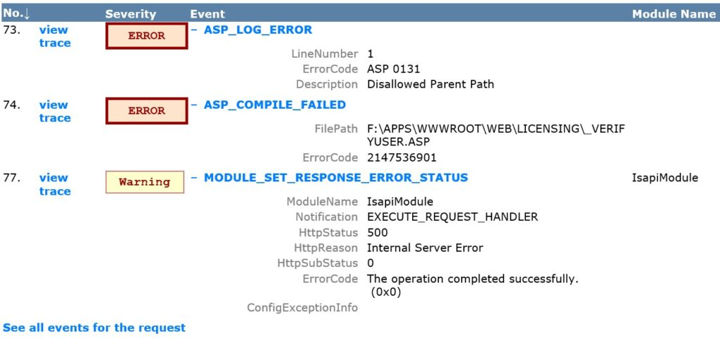 """Disallowed Parent Path"" error (ASP 0131 ASP_LOG_ERROR)"