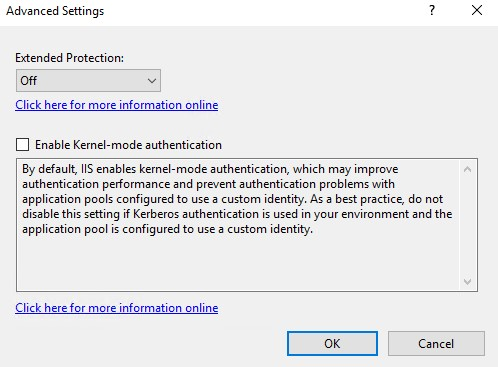 Disable Kernel-mode authentication to bypass IIS binding limit