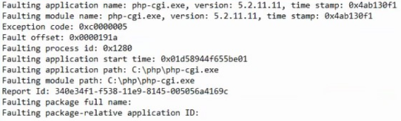 Event 1000 Faulting application name: php-cgi.exe