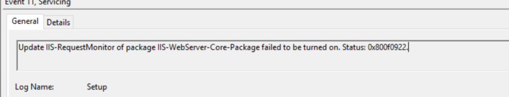 Update IIS-RequestMonitor of package IIS-WebServer-Core-Package failed to be turned on (0x800f0922)