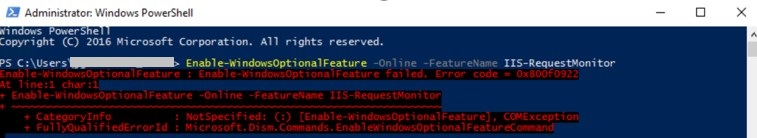 Enable-WindowsOptionalFeature: Enable-WindowsOptionalFeature failed. Error code = 0x800f0922 at line: 1 char:1