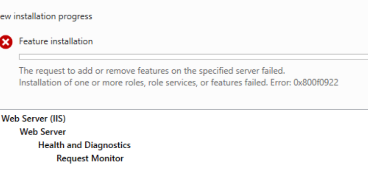 0x800f0922 Update IIS-RequestMonitor of package IIS