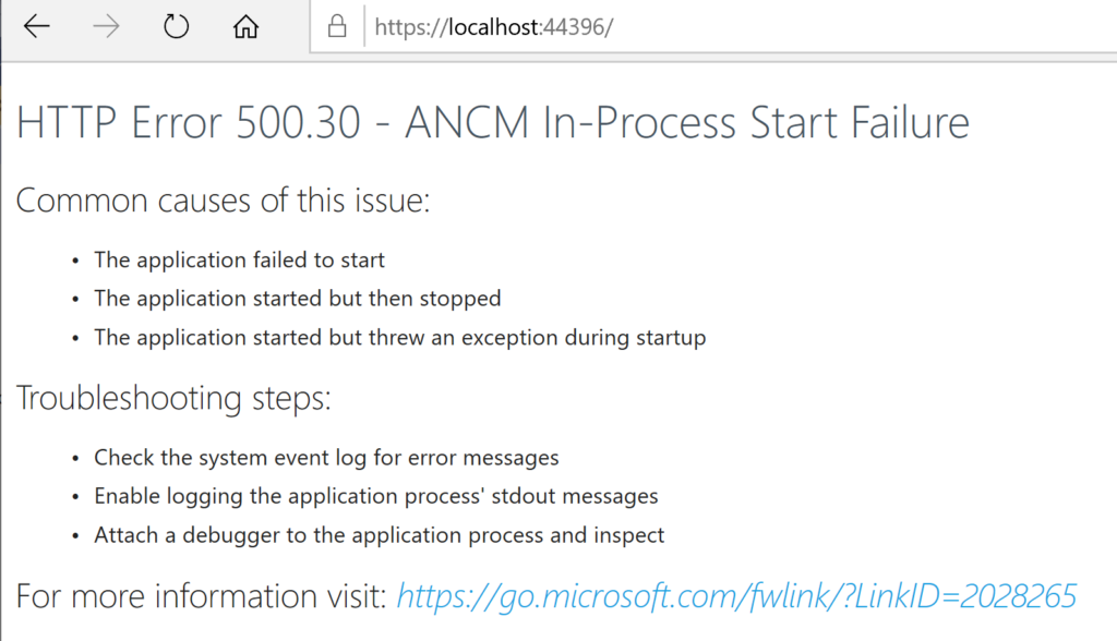 HTTP Error 500.30 - ANCM In-Process Start Failure