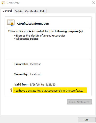Check certificate private key to solve missing certificate issue