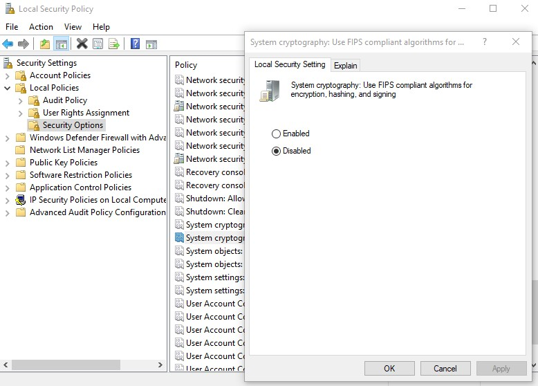 Disable FIPS in group policy
