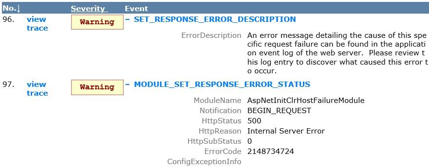 AspNetInitClrHostFailureModule (0x80131704 - 2148734724)