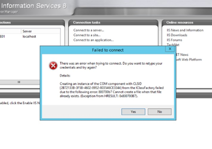 """Error """"Creating an instance of the COM component with CLSID failed (800700b7)"""""""