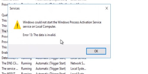 he Windows Process Activation Service service terminated with the following error: The data is invalid.