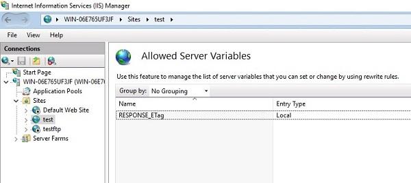 URL Rewrite Server Variables