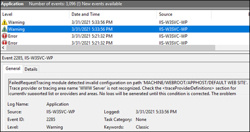 FailedRequestTracing module detected invalid configuration