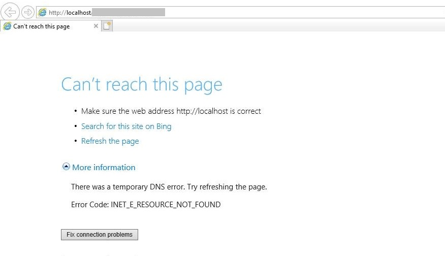 Can't reach this page. There was a temporary DNS error. Error code: INET_E_RESOURCE_NOT_FOUND