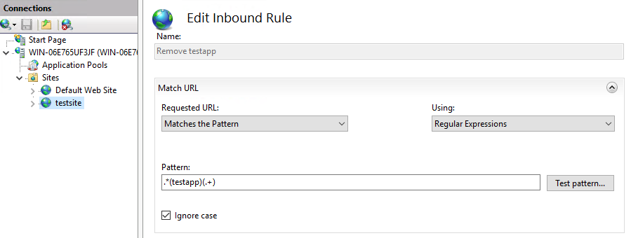 URL Rewrite Inbound rule to strip out folder names from URLs